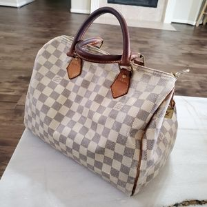 LOUIS VUITTON Damier Azur Speedy 30 Bag Auth